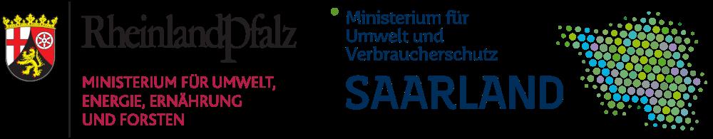 Logos der Ministerien: Ministerium für Umwelt, Energie, Ernährung und Forsten Rheinland-Pfalz, Ministerium für Umwelt und Verbraucherschutz, Saarland